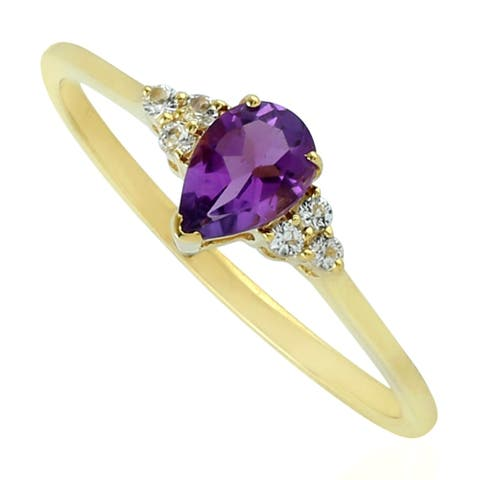 14kt Yellow Gold Pearl Amethyst Ring Gemstone Jewelry