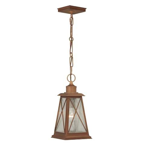 Mackinac 1 Light Copper Coastal Outdoor Lantern Pendant Clear Glass - 7-in. W x 14.25-in. H x 7-in. D