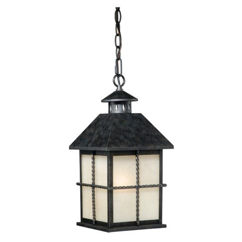 Savannah 1 Light Black Outdoor Lantern Pendant Cream Glass - 8-in. W x 16.25-in. H x 8-in. D