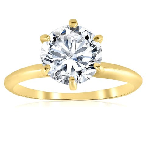 Pompeii3 14k Yellow Gold 2 Ct Moissanite Solitaire Engagement Ring