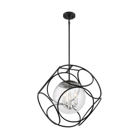 Aurora 3-Light Pendant Fixture - Black and Polished Nickel Finish with Clear Seeded Glass - Black / Polished Nickel