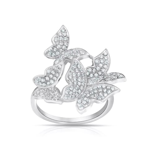 Sterling Silver Cubic Zirconia Multi Shaped Butterfly Ring
