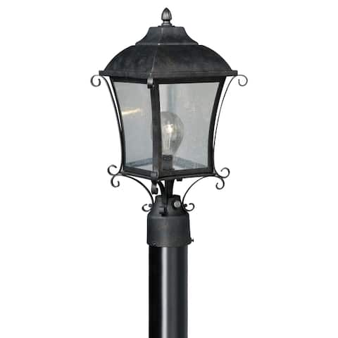 Sonnet 1L Dusk to Dawn Black Outdoor Empire Post Light Clear Glass - 8.75-in. W x 17.5-in. H x 8.75-in. D