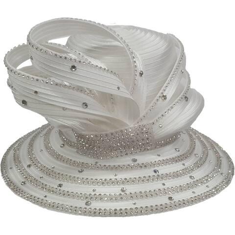 Women's HIGH CROWN Crystal Rhinestone Satin Ribbon Dressy Hat