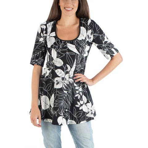 24seven Comfort Apparel Black and White Print Elbow Sleeve Swing Top