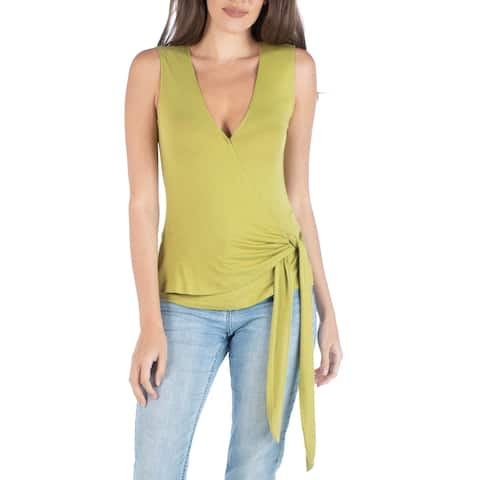 24seven Comfort Apparel Sleeveless Wrapover V Neck Top with Waist Tie