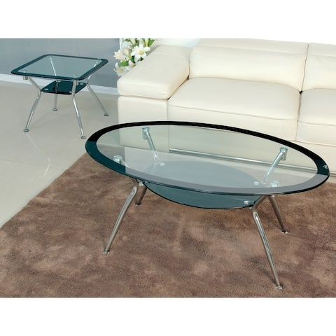 Best Master Furniture Black with Chrome Coffee Table Set