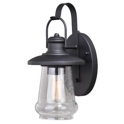Bridgeport 1 Light Dusk to Dawn Bronze Coastal Outdoor Wall Lantern Clear Glass