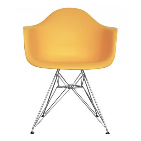 kids chair made of Polypropylene seat with durable Metal legs - Yellow