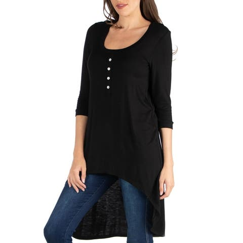 24seven Comfort Apparel Three Quarter Sleeve High Low Henly Top