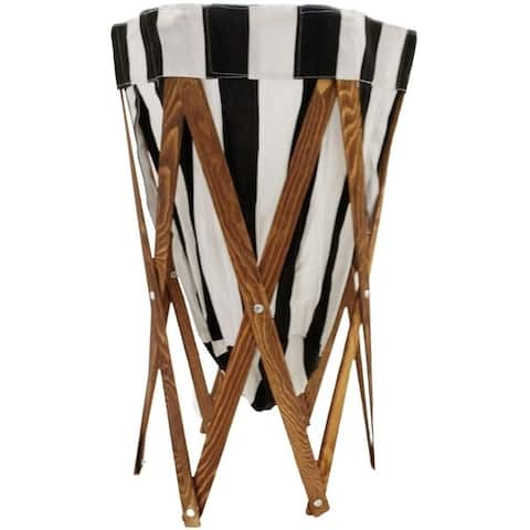 Folding Collapsible Laundry Hamper with Wood Frame & Liner for Clothes Nursery Laundry Room Closet Space-Saving