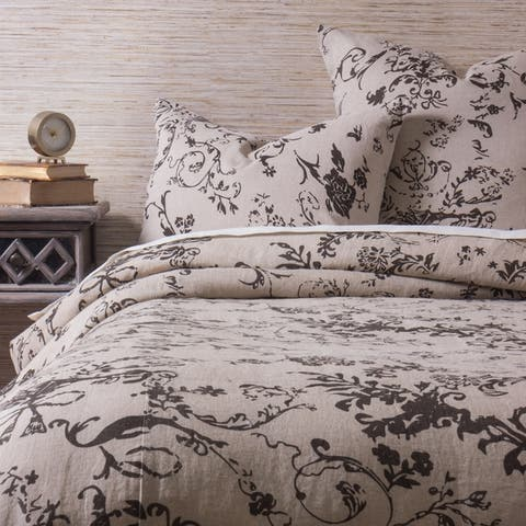 Cottage Home Le Poet Duvet Cover Charcoal Brown Set