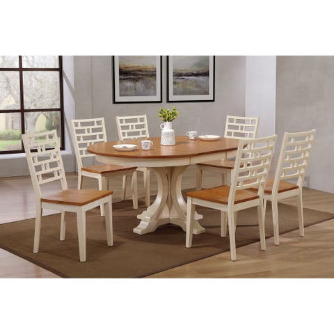 "Iconic Furniture Company 45""x45""x63"" Deco Designer Back Side Chair Caramel/ Biscotti 7-Piece Set"