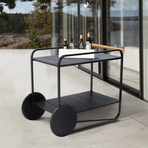 Portals Outdoor Accent Cart in Black Finish and Natural Teak Wood Accent