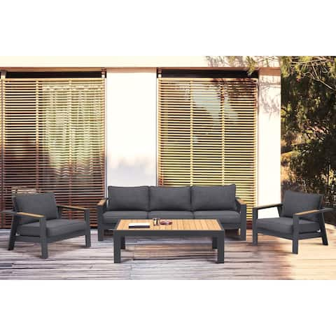 Palau 4 Piece Outdoor Sofa Set in Dark Grey with Natural Teak Wood Accent Top