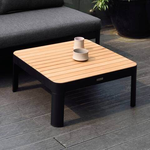 Portals Outdoor Square Coffee with Natural Teak Wood Top