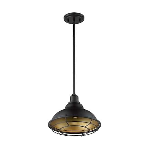 Newbridge 1-Light Large Pendant Fixture - Dark Bronze Finish with Gold Accents - Dark Bronze / Gold - Dark Bronze / Gold
