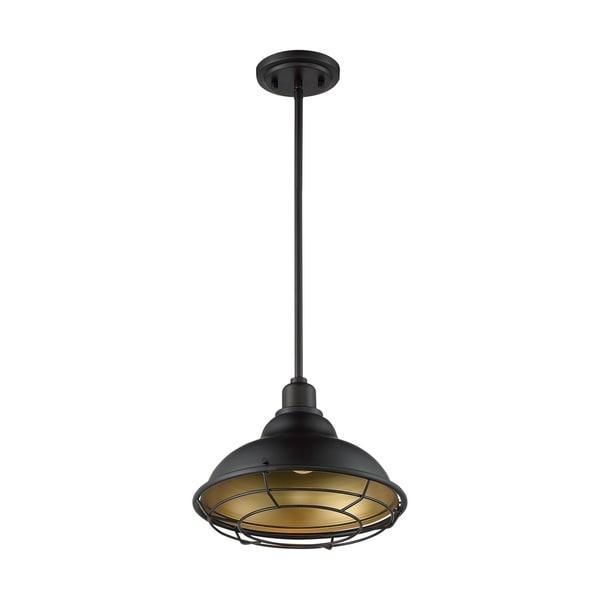 Newbridge 1-Light Large Pendant Fixture - Dark Bronze Finish with Gold Accents - Dark Bronze / Gold - Dark Bronze / Gold. Opens flyout.