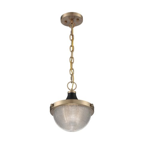 Faro 1-Light Small Pendant Fixture - Burnished Brass Finish with Black Accents Clear Prismatic Glass