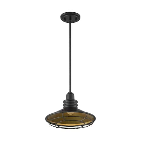 Blue Harbor 1-Light Large Pendant Fixture - Dark Bronze Finish with Gold Accents - Dark Bronze / Gold - Dark Bronze / Gold