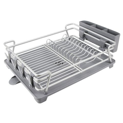 Aluminum Dish Drying rack Utensil Drinkware Holder Rust Proof Kitchen Countertop Dish Rack Large Drainboard Adjustable Holder
