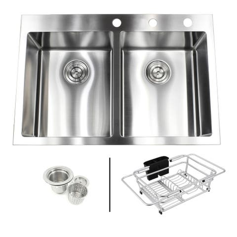 33 in. x 22 in. x 10 in. 16-Gauge Stainless Steel Topmount Drop-In Double Bowl Kitchen Sink Brushed Finish Dish Rack Strainer