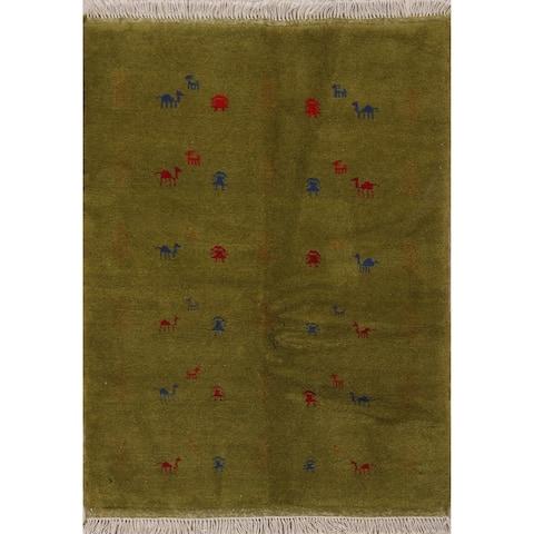 "Green Tribal Gabbeh Shiraz Persian Home Decor Area Rug Handmade - 3'5"" x 4'10"""
