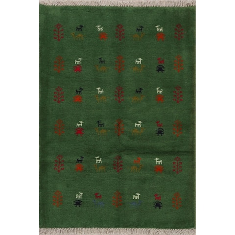 "Animals Tribal Persian Gabbeh Shiraz Green Area Rug Handmade Carpet - 3'7"" x 4'9"""