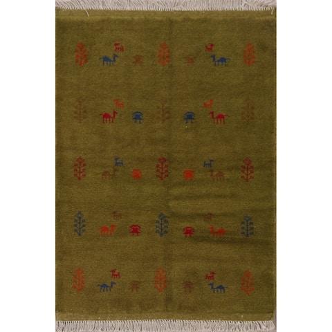 "Tribal Gabbeh Shiraz Persian Area Rug Hand-Knotted Home Decor Carpet - 3'6"" x 4'9"""