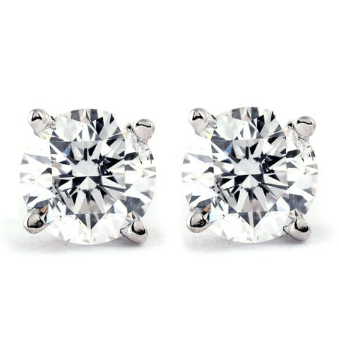14k Gold 1ct TDW Genuine White Brilliant Diamond Stud Earrings