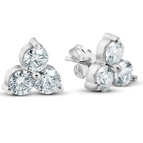 2ct Three Stone Diamond Studs 14K White Gold