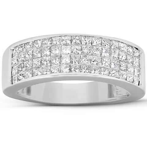 2 Ct Diamond Princess Cut Mens Bling Wedding Anniversary Ring 10k White Gold Size 8.5