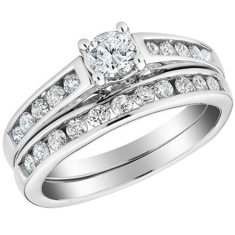 1 1/10ct Diamond Channel Set Engagement Matching Wedding Ring Set 10k White Gold
