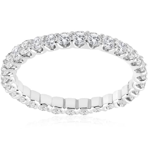 1 1/2 cttw Diamond Eternity Ring U Prong 14k White Gold Wedding Band