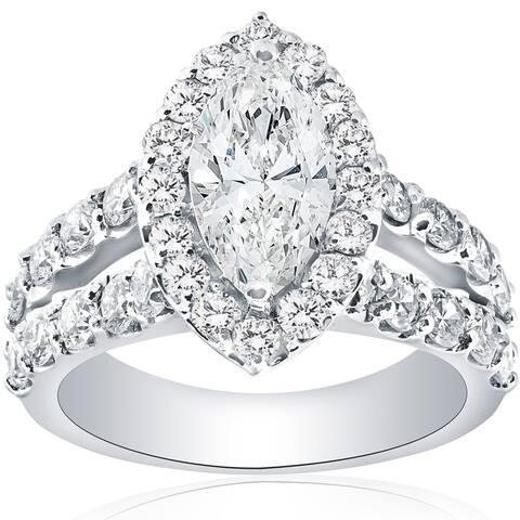 14k White Gold 2 1/2 Ct Marquise Diamond Halo Engagement Ring Split Double Band Clarity Enhanced (H-I/I1-I2)