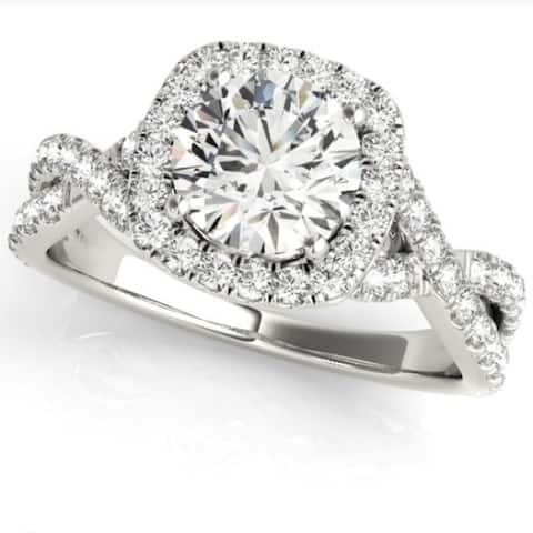 1 Ct Diamond Cushion Halo Engagement Ring in 14k White Gold