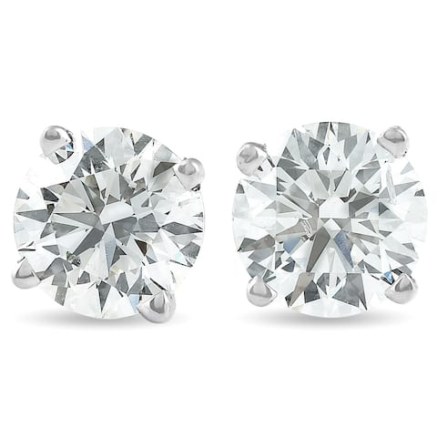 1 1/2 Ct Diamond Studs 14k White Gold IGI Certified