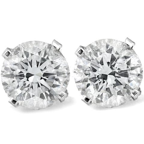 Screw Back 1 Ct T.W. Diamond Studs Available in 14k White or Yellow Gold