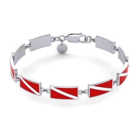 Scuba Diver Down Flag Sterling Silver Link Bracelet