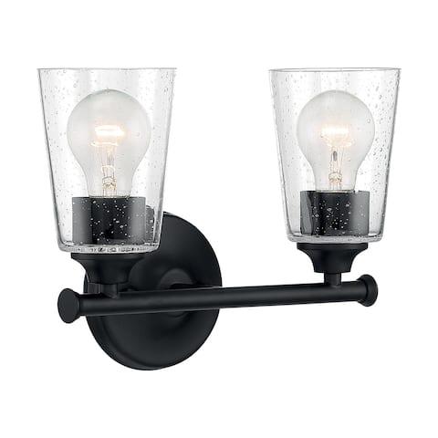 Bransel 2-Light Vanity with Seeded Glass Matte Black Finish