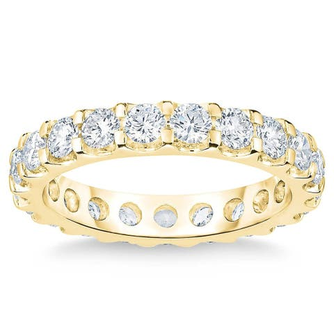 14k Yellow Gold 2 Ct Moissanite Eternity Ring Lab Grown (G/H,VS)