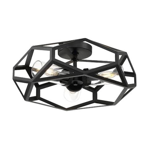 Zemi 3-Light Flush Mount with Clear Glass Black Finish