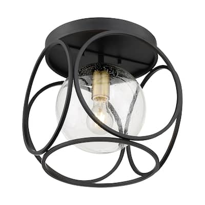 Aurora 1-Light Flush Mount with Seeded Glass Black and Vintage Brass Finish