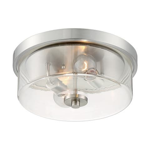 Sommerset 2-Light Flush Mount with Clear Glass Brushed Nickel Finish
