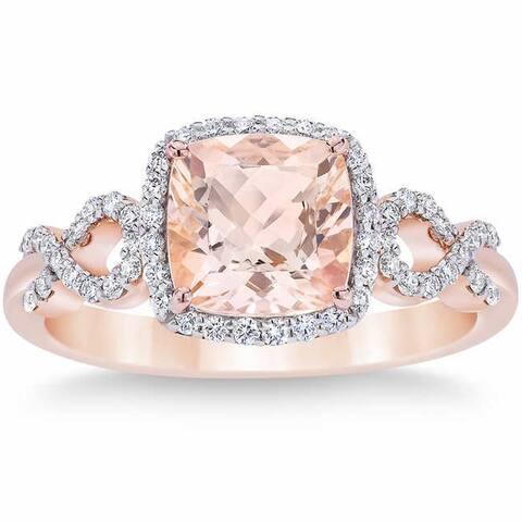 Pompeii3 10k Rose Gold 2 1/2 Ct Morganite Cushion Halo Diamond Ring