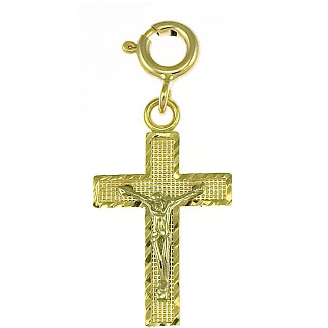14k Two-tone Gold Crucifix Charm