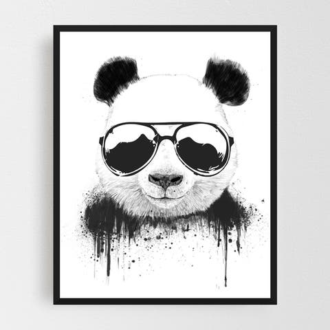 Animals Black and White Cute Funny Framed Wall Art Print