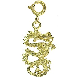 14k Yellow Gold Dragon Charm