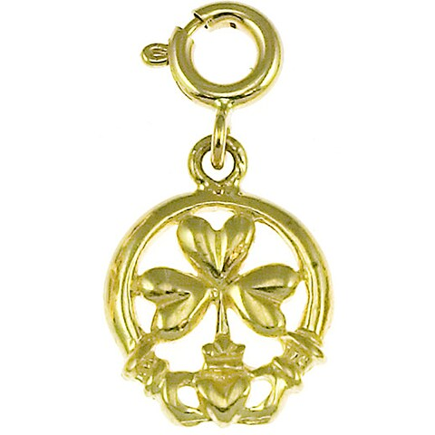 14k Yellow Gold Claddagh and Shamrock Charm