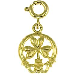 14k Yellow Gold Claddagh and Shamrock Charm|https://ak1.ostkcdn.com/images/products/3108634/3/14k-Yellow-Gold-Claddagh-and-Shamrock-Charm-P11238929.jpg?impolicy=medium